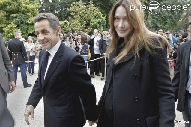 Carla Bruni et Nicolas Sarkozy, à Paris, le 17 septembre 2011.