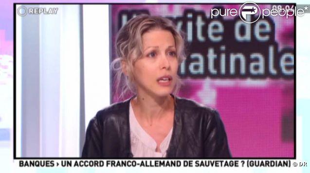 Tristane Banon annonce qu'elle ne se portera pas patie civile dan l'affaire DSK, sur le plateau de la matinale de Canal+, le 19 octobre 2011.