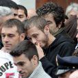 Valentino Rossi lors de l'enterrement du jeune pilote Marco Simoncelli le 27 octobre 2011 à Coriano