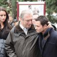 Randy de Puniet lors de l'enterrement du jeune pilote Marco Simoncelli le 27 octobre 2011 à Coriano