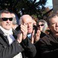 Jean-Marie Bigard, Jacques Balutin et Daniel Russo lors des obsèques de Robert Lamoureux en l'église Notre-Dame de Boulogne-Billancourt le 4 novembre 2011