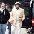 Charlie Sheen en tournage du nouveau film de  Roman Coppola , à Los Angeles, le 18 novembre 2011.