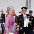 La reine Margrethe et le prince Henrik au mariage de Marie Cavallier et Joachim de Danemark