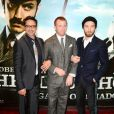 Robert Downey Jr., Guy Ritchie et Jude Law présentent Sherlock Holmes : Jeu d'ombres à Londres, le 9 décembre 2011.