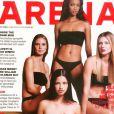 Juin 2000 : Adriana Lima, accompagnée de Heidi Klum, Tyra Banks et Daniela Pestova, pose en Une d'Arena.