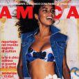 Adriana Lima, habillée d'un bikini et d'une veste en jean pour la Une d'Amica. Juin 2001.