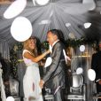 Jean-Marie Bigard et Lola au cours de leur mariage religieux, au Café Barge, à Paris. Le 3 septembre 2011.