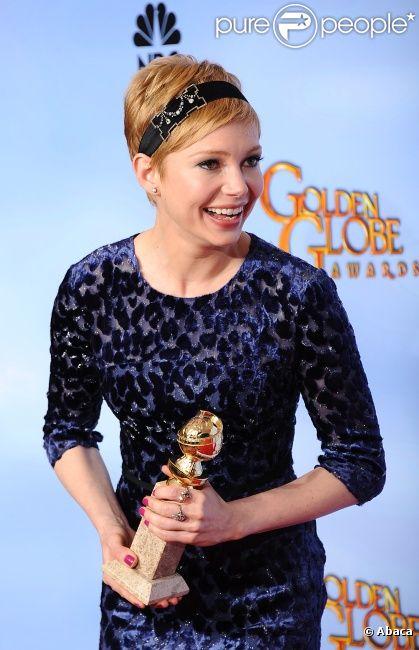 Michelle Williams, meilleure actrice pour My Week With Marilyn aux Golden Globes à Los Angeles, le 15 janvier 2012.