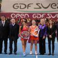 David Douillet, Marion Bartoli, Angélique Kerber, Martina Navratilova et Amélie Mauresmo le 12 février 2012 à Coubertin lors de l'Open GDF Suez à Paris