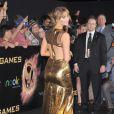 Jennifer Lawrence lors de l'avant-première du film Hunger Games le 12 mars 2012 au Nokia Theatre L.A Live de Los Angeles