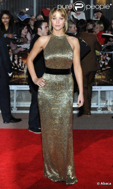 Jennifer Lawrence à l'avant-première de Hunger Games, le 14 mars 2012 à Londres.