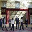 Le prince Felipe d'Espagne en audiences officielles au palais à Madrid le 26 mars 2012