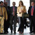 Cristina d'Espagne à Barcelone le 27 mars 2012 pour l'inauguration d'une exposition de la Fondation La Caixa dont elle est la marraine. Sa première apparition officielle depuis des mois en raison du scandale Noos...