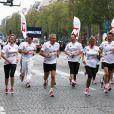 Patrick Poivre-d'Arvor lors des Kilomètres du Coeur, en plein Marathon de Paris le 15 avril 2012