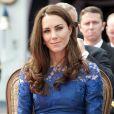 Kate Middleton à Québec le 3 juillet 2011.   Catherine, duchesse de Cambridge (Kate Middleton), devenue de manière fulgurante une icône de style depuis son entrée dans la famille royale, s'en est souvent remise au bleu, une couleur qu'elle affectionne, pour des occasions spéciales.
