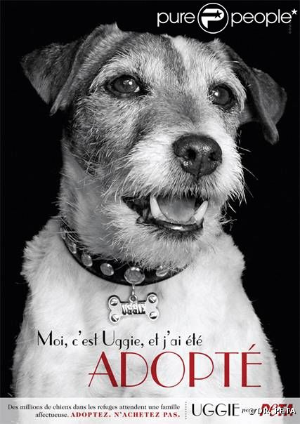Uggie dans la dernière campagne de PETA