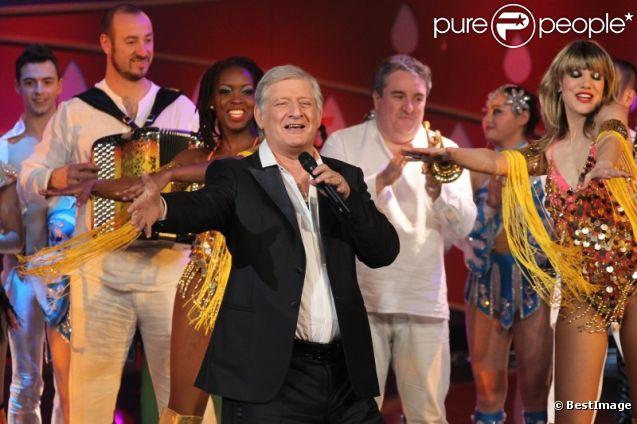Patrick Sébastien, lors de l'enregistrement du  Plus Grand Cabaret du monde , diffusé le 21 avril 2012.