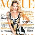 Candice Swanepeol en couverture habillée d'une robe Gucci en couverture du  Vogue  japonais de juin 2012.