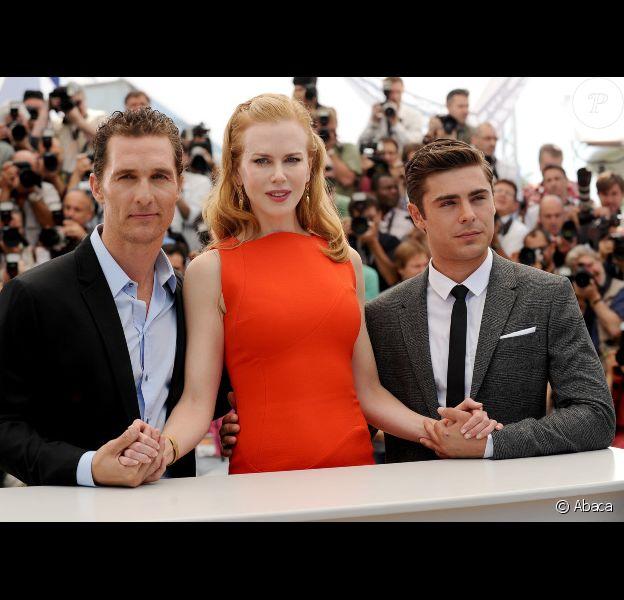 Matthew McConaughey, Nicole Kidman et Zac Efron lors du photocall du film Paperboy au Festival de Cannes le 24 mai 2012