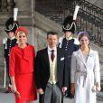 La princesse Maxima des Pays-Bas au côté du prince Frederik de Danemark lors du baptême de la princesse Estelle de Suède, le 22 mai à Stockholm.