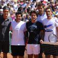 Roger Federer, Sébastien Grosjean, Fabrice Santoro, Nicolas Escudé et Juan Martin Del Potro lors de la journée des enfants à Roland Garros le 26 mai 2012 à Paris
