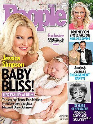 Jessica Simpson prend la pose avec son adorable fille Maxwell en couverture du magazine People, mai 2012.