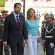 Le prince Felipe et la princesse Letizia d'Espagne au premier jour de leur visite officielle au Portugal (30 mai - 1er juin), le 30 mai 2012.