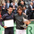 Rafael Nadal lors de sa septième victoire à Roland-Garros face à Novak Djokovic le 10 juin 2012 à Paris