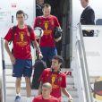 L'équipe d'Espagne le 2 juillet 2012 à Madrid lors de la descente d'avion en provenance de Kiev après avoir glané un nouveau titre de champion d'Europe