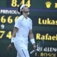 """""""Rafael Nadal (photo : lors de son élimination surprise à Wimbledon 2012) a annoncé le 19 juillet 2012 son forfait pour les JO de Londres 2012. Champion olympique en titre et désigné porte-drapeau de la délégation espagnole, le champion vit l'un des jours les plus tristes de sa carrière..."""""""