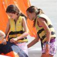 La jeune Victoria, 11 ans, fille de l'infante Elena d'Espagne, part pour une balade en dériveur, le 1er août 2012 à Majorque.