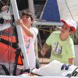 Le jeune Felipe, 14 ans, fils de l'infante Elena, en route pour une virée en dériveur le 1er août 2012 à Majorque
