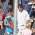 Felipe, 14 ans, fils de l'infante Elena d'Espagne, à l'école de voile de Palma de Majorque le 3 août 2012.