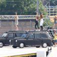 Perchées sur des taxis londoniens, les Spice Girls répètent dans le plus grand secret pour leur show prévu lors de la cérémonie de clôture des Jeux olympiques. Le 9 août 2012