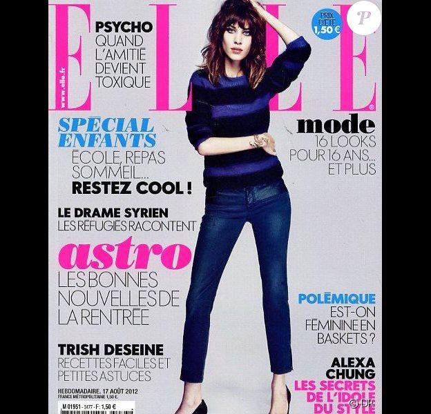 Alexa Chung en couverture du magazine ELLE en kiosques le 17 août 2012