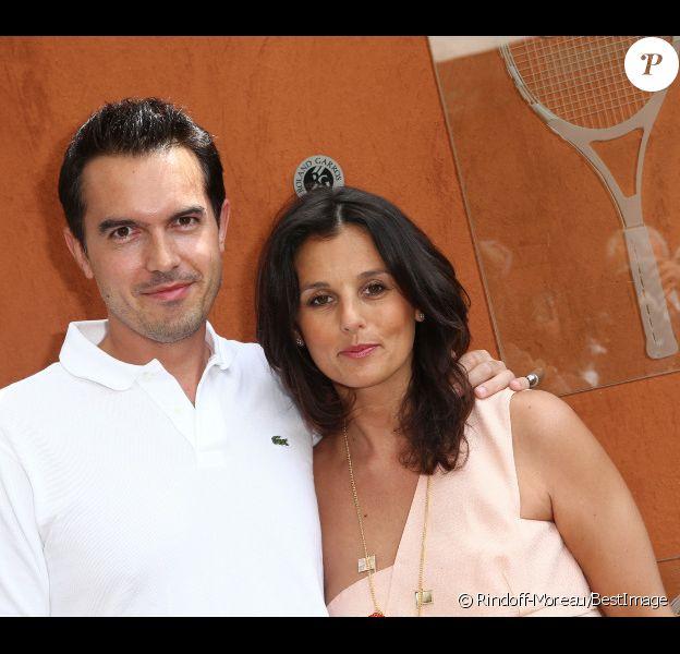Faustine Bollaert et son futur mari Maxime Chattam à Roland Garros en mai 2012