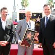 Ellen DeGeneres reçoit son étoile sur le Walk of Fame à Hollywood aux côtés de Ryan Seacrest et Jimmy Kimmel, le 4 septembre 2012