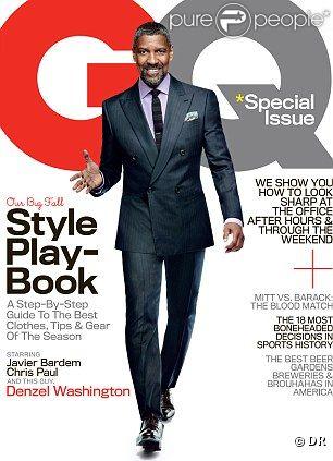 GQ édition américaine, octobre 2012 avec Denzel Washington
