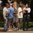 Bradley Cooper avec Ed Helms Jamie Chung, et Gillian Vigman sur le tournage de  Very Bad Trip 3  en septembre 2012