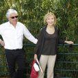 Marie-Anne Chazel en compagnie de son compagnon Philippe Raffard à Roland Garros le 27 mai 2012.