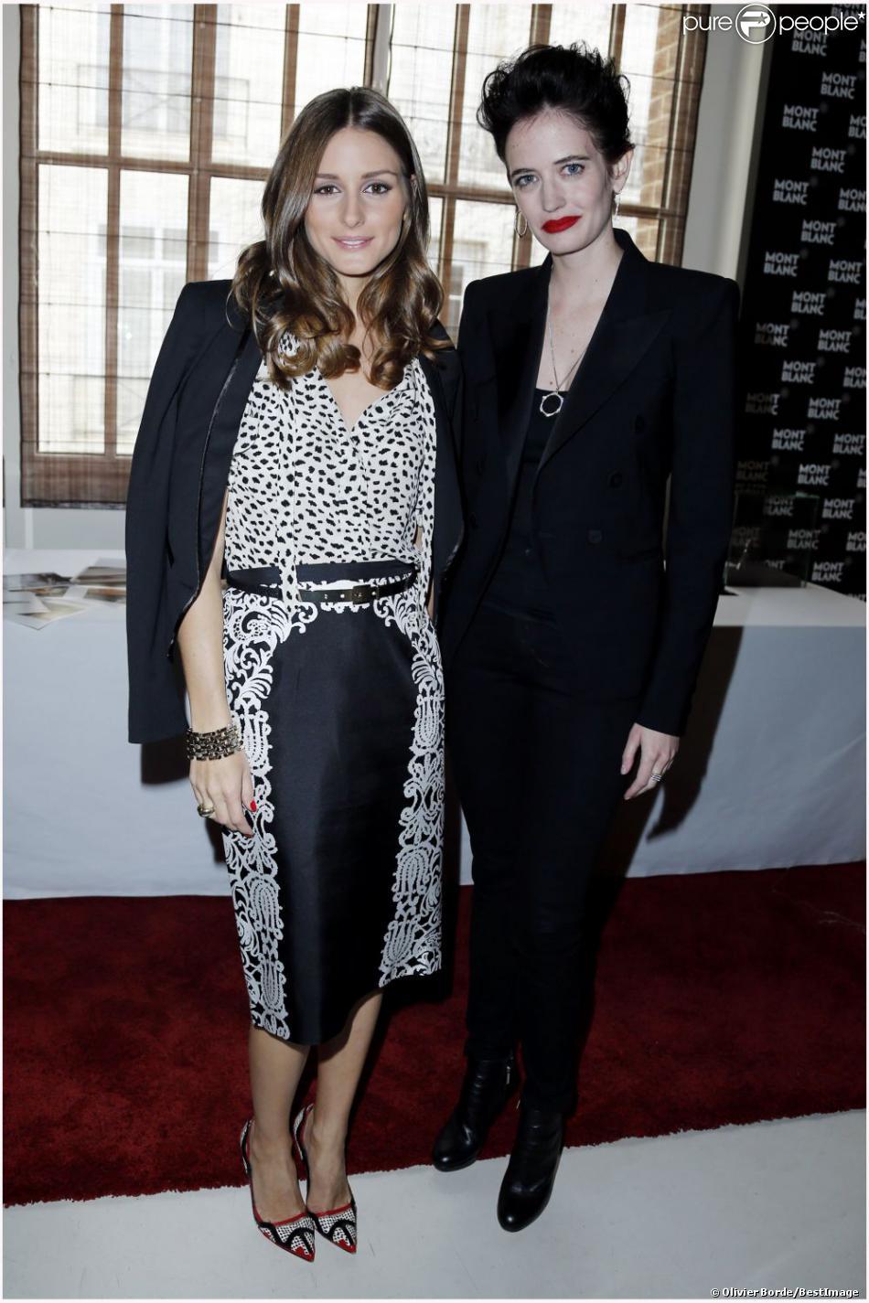 Olivia Palermo et Eva Green au déjeuner Montblanc pour la présentation de la collection L'Aubrac à Paris le 16 octobre 2012.