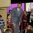 """Felipe d'Espagne lors de l'inauguration de la """"Maison du lecteur"""" à Madrid, le 17 octobre 2012."""
