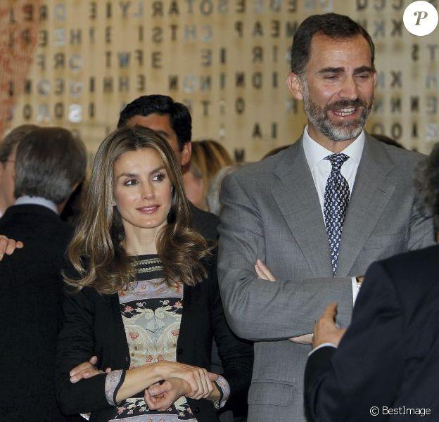 """La princesse Letizia d'Espagne lors de l'inauguration de la """"Maison du lecteur"""" à Madrid, le 17 octobre 2012."""
