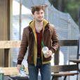 Daniel Radcliffe avec une belle coupe de cheveux sur le tournage de Horns le 2 octobre 2012