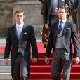 Les princes Sébastien et Félix du Luxembourg sortant de la cathédrale Notre-Dame où le prince Guillaume et Stéphanie de Lannoy viennent de se marier, le 20 octobre 2012.