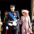 Letizia et Felipe d'Espagne sortant de la cathédrale Notre-Dame de Luxembourg où le prince Guillaume et Stéphanie de Lannoy viennent de se marier, le 20 octobre 2012.