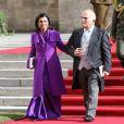 Le prince Hassan et la princesse Sarvath de Jordanie sortant de la cathédrale Notre-Dame de Luxembourg où le prince Guillaume et Stéphanie de Lannoy viennent de se marier, le 20 octobre 2012.