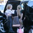 Angelina Jolie takes the kids out to shop for their Halloween costumes at a local Party City Store in Studio City, Los Angeles, CA, USA on October 28, 2012. The 37-year-old actress held tightly onto her twins, Vivienne Marcheline Jolie-Pitt and Knox Léon Jolie-Pitt, while her older daughter Shiloh Nouvel Jolie-Pitt picked out her own accessories. Photo by GSI/ABACAPRESS.COM29/10/2012 - Los Angeles