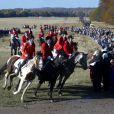 Image de l'édition 2012 de la chasse Hubertus ( Hubertusjagt ), à laquelle le prince consort Henrik de Danemark a assisté avec ses petits-enfants le prince Felix, le prince Christian et la princesse Isabella, le 4 novembre 2012 au palais Eremitage, dans la forêt Dyrehaven.