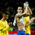 Zlatan Ibrahimovic dévoile ses tatouages après une partie mémorable face à l'Angleterre à la Friends Arena de Solna le 14 novembre 2012